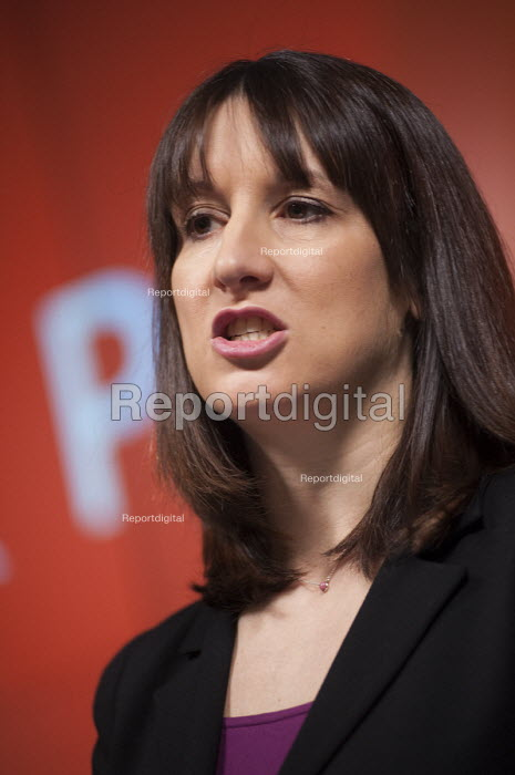 Rachel Reeves MP speaking at a Labour Party general election press conference at the London office of Bloombergs. - Philip Wolmuth - 2015-02-04