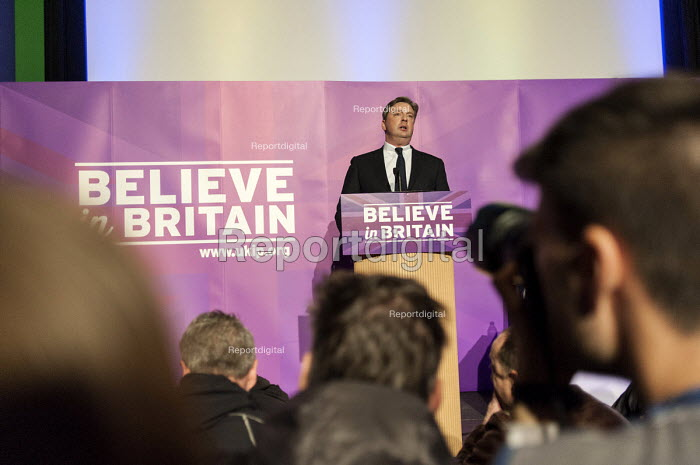 Local UKIP candidate Jamie Huntman addressing press and supporters at the UKIP launch of its General Election campaign in the Movie Starr cinema, Canvey Island, South Essex. - Philip Wolmuth - 2015-02-12