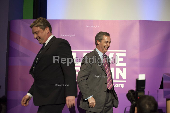 Nigel Farage and local candidate Jamie Huntman at the UKIP launch of its General Election campaign in the Movie Starr cinema, Canvey Island, South Essex. - Philip Wolmuth - 2015-02-12