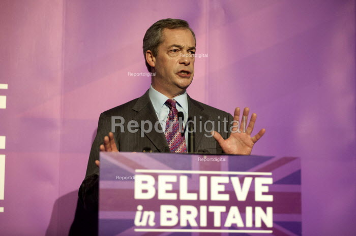 Nigel Farage addressing press and supporters at the UKIP launch of its General Election campaign in the Movie Starr cinema, Canvey Island, South Essex. - Philip Wolmuth - 2015-02-12