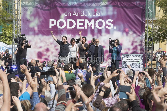 Podemos secretary general Pablo Iglesias, presidential candidate Teresa Rodriguez and local candidate Felix Gil at a rally in Malaga a week before Andalusian parliamentary elections in which the grassroots party is hoping to make significant gains. - Philip Wolmuth - 2015-03-14