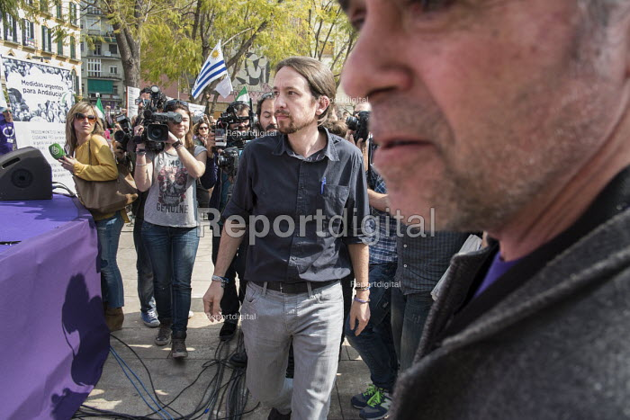 Podemos secretary general Pablo Iglesias at a rally in Malaga a week before Andalusian parliamentary elections in which the grassroots party is hoping to make significant gains. - Philip Wolmuth - 2015-03-14