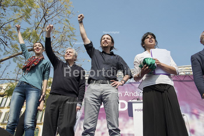 Podemos secretary general Pablo Iglesias and presidential candidate Teresa Rodriguez at a rally in Malaga a week before Andalusian parliamentary elections in which the grassroots party is hoping to make significant gains. - Philip Wolmuth - 2015-03-14
