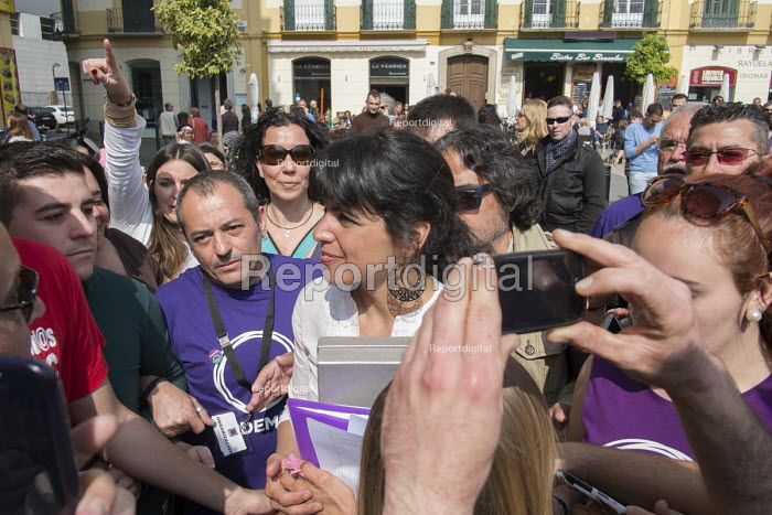 Podemos presidential candidate Teresa Rodriguez at a rally in Malaga a week before Andalusian parliamentary elections in which the grassroots party is hoping to make significant gains. - Philip Wolmuth - 2015-03-14