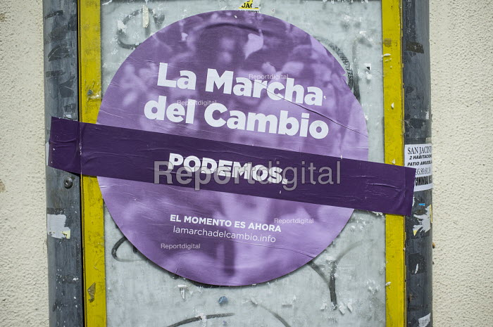 Change Begins in Andalucia. Podemos poster, Seville, Spain. The grassroots party is expected to make major gains in the first in a forthcoming round of regional elections. - Philip Wolmuth - 2015-03-13
