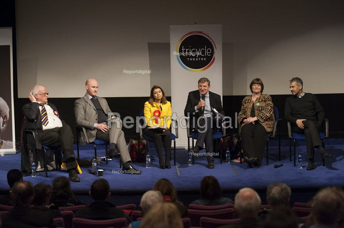 L to R Magnus Nielsen (UKIP), Simon Marcus (Conservative), Tulip Siddiq (Labour), Chair Geoff Martin (editor of the Hampstead & Highgate Express), Rachel Johnson (Green Party), Maajid Nawaz (Liberal Democrats Co-Founder and Chairman of the Quilliam Foundation). General election hustings in Hampstead and Kilburn, the second most marginal constituency in the UK. - Philip Wolmuth - 2015-03-24