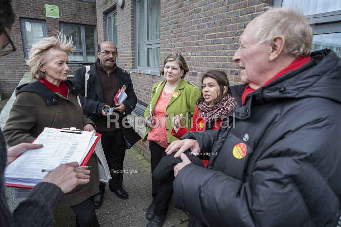 Tulip Siddiq, Neil and Glenys Kinnock, Emily Thornbury MP. General election 2015: Tulip Siddiq, Labour candidate for Hampstead & Kilburn, the second most marginal seat in the UK, during a canvassing session in Swiss Cottage, London. - Philip Wolmuth - 2015-03-28
