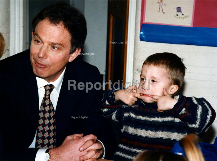 Tony Blair MP on the first day of his 1997 general election campaign, Crampton Primary School, S. London - Joanne O'Brien - 1997-03-06