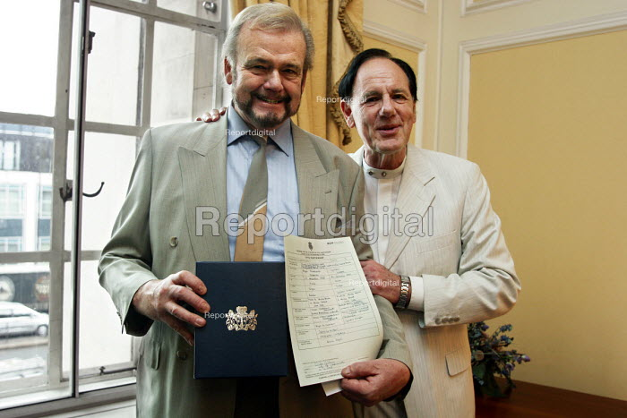 Civil partnership ceremony at Marylebone Town Hall on first day that it was possible to have one.