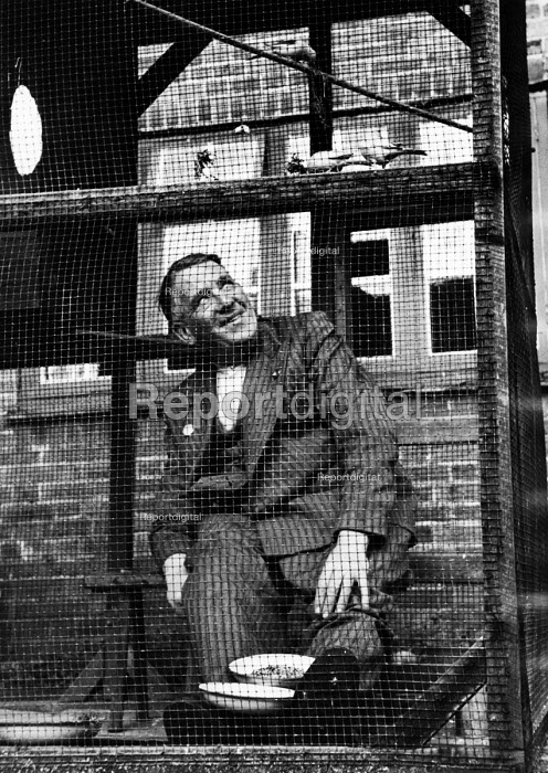 First World War veteran, unable to walk because of his wounds, enjoying time with his caged birds at his home in London, 1952. .... - Elizabeth Chat - 1952-07-11