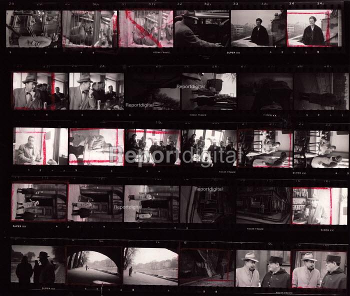 Contact sheet, with markings, of photographs of Belgian writer, Georges Simenon, Paris, 1947 by Inge Morath - Inge Morath - 1947-03-22