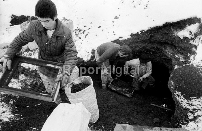 Striking miners 'riddling' on slag heaps of coal waste in the snow near South Kirby, Yorkshire in the winter of the miners strike; trying to find coal to heat their homes. - John Harris - 1985-01-17