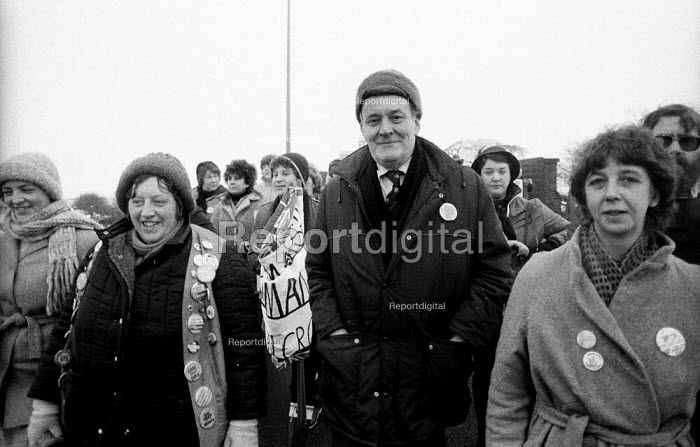 Tony Benn MP on a womens march against pit closures and in support of the miners strike from Markham Main to Arkwright Colliery, North Derbyshire - John Harris - 1985-01-17