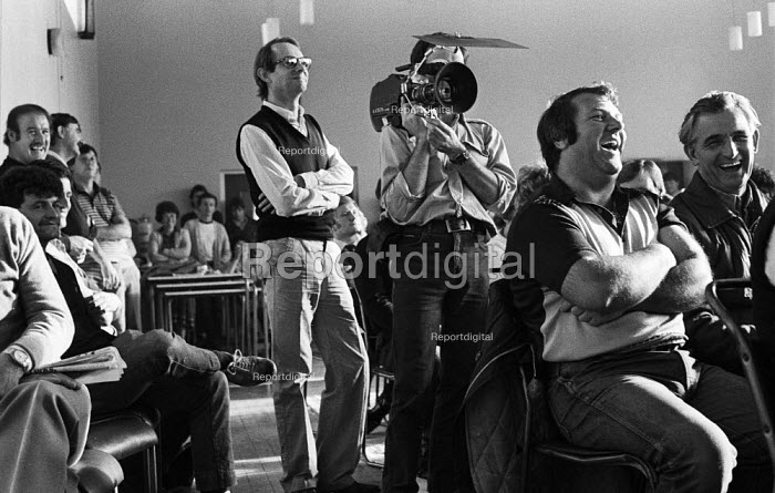 Film Director, Ken Loach, standing beside his camera man during the filming of Which Side Are You On? - a documentary about the miners strike of 1984-85. - John Harris - 1985-06-02