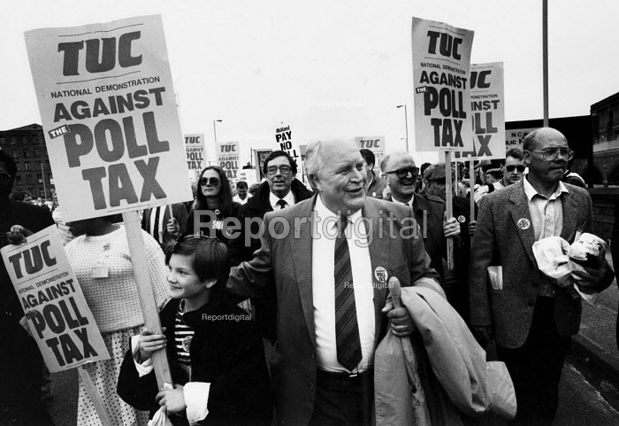 TUC Gen Sec Norman Willis at the head of a TUC national demonstration against the Poll Tax, Manchester, 1989. - John Harris - 1989-07-01