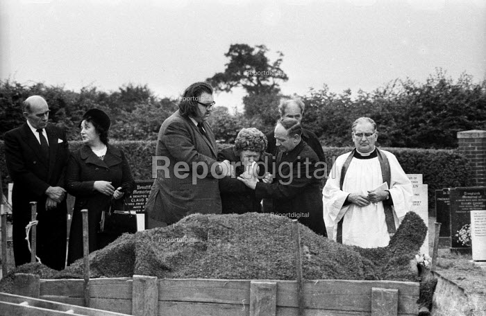Relatives at the funeral of Jan Kaminski, one of 18 miners who died at Markham Main Colliery as a result of a lift shaft accident at the pit on 30th July, 1973. - John Sturrock - 1973-08-12