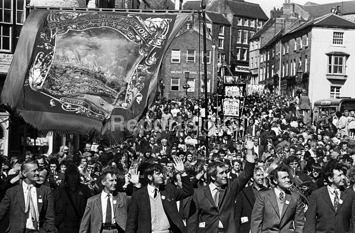 Durham Miners Gala, 1974. Miners from Marley Hill Lodge and their families take part in the annual Big Meeting. - John Sturrock - 1974-07-14