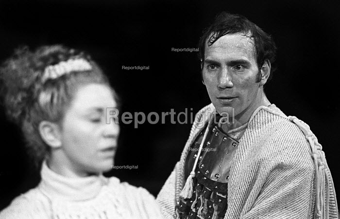 Pete Postlethwaite in Corialanus by Bertolt Brecht, adapted from Shakespeare, Everyman Theatre, Liverpool, 1975. This was the British premiere of the play as staged in English; the only other production having been in Germany in Berlin in 1965. - John Sturrock - 1975-04-16