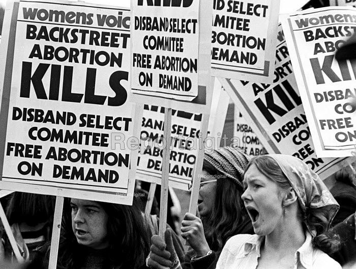 Demonstration in favour of abortion rights, free abortion on demand and against SPUC, Backstreet abortion kills, 1975, London. - John Sturrock - 1975-10-19