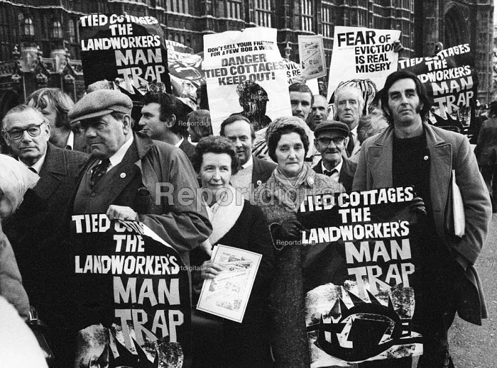 Lobby of Parliament by agricultural workers against Tied Cottages 1975, London - John Sturrock - 1975-12-03