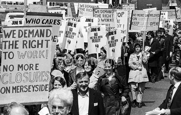 Day of Action against unemployment and job losses, called by the National Right To Work Campaign, Liverpool, Merseyside, 1976. - John Sturrock - 1976-05-26