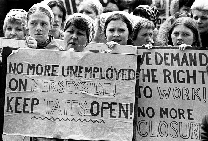 Women from Tate and Lyle Sugar plant protest. Day of Action against unemployment and job losses, National Right To Work Campaign, Liverpool, Merseyside, 1976. - John Sturrock - 1976-05-26