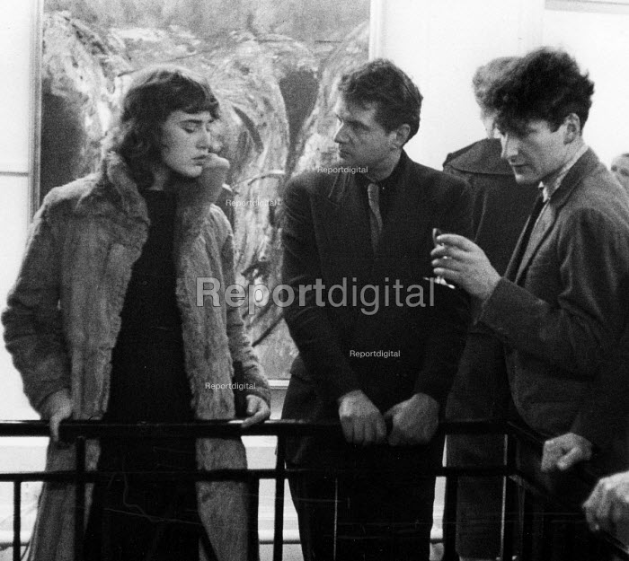 Francis Bacon with friends, exhibition launch party, Hanover Gallery London 1957 - Herbert K Nolan - 1957-03-22