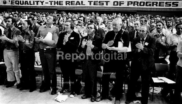 Equality - The Real Test of Progress 1981 every delegate is male, TGWU 29th Biennial Conference BrightonEquality - The Real Test of Progress 1981 every delegate is male, TGWU 29th Biennial Conference BrightonEquality - The Real Test of Progress 1981 every delegate is male, TGWU 29th Biennial Conference BrightonEquality - The Real Test of Progress 1981 every delegate is male, TGWU 29th Biennial Conference Brighton - Nick Oakes - 1981-06-23