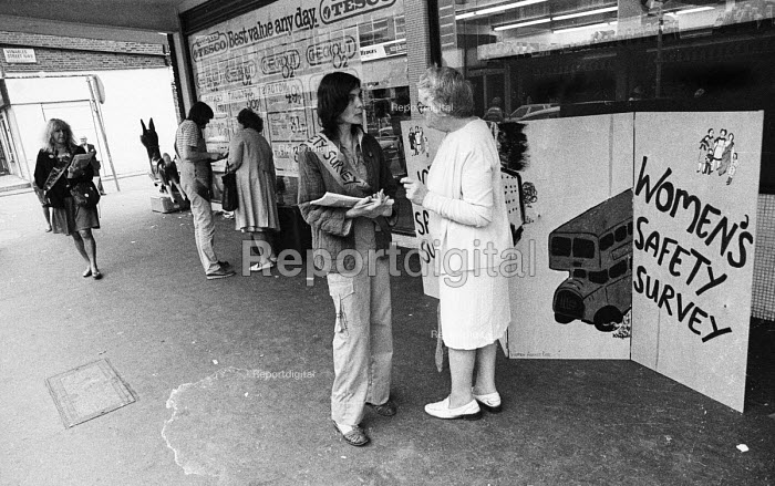 Women's safety survey conducted in Church Street market by Women Against Rape to ascertain women views on their safety, London, 1987. - Phil Defries - 1982-08-05