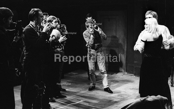 Press photographers, including Douglas Jeffery, second from left, at a photocall for Marya by Isaac Babel, Royal Court Theatre, London, 1967. - Patrick Eagar - 1967-10-19
