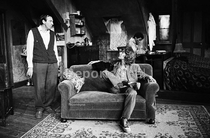 The Banana Box, Hampstead Theatre, London, 1973. The play was later turned into Rising Damp, a highly successful ITV comedy starring many of the original cast from this theatre production. Lenoard Rossiter and former Manfredd Mann singer, Paul Jones, in background, Don warrington. - Peter Harrap - 1973-05-17