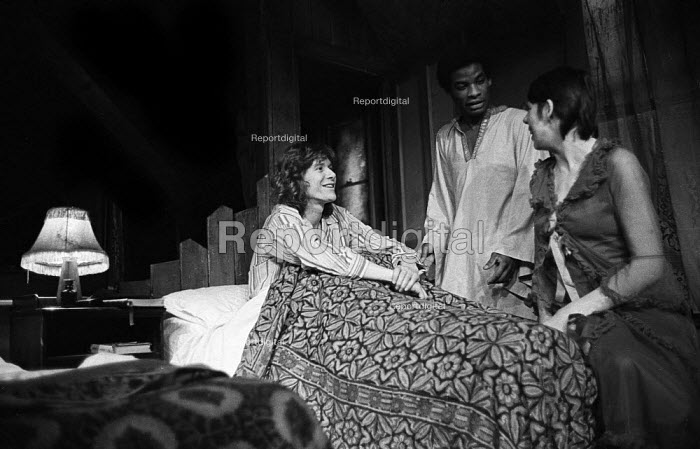 The Banana Box, Hampstead Theatre, London, 1973. The play was later turned into Rising Damp, a highly successful ITV comedy starring many of the original cast from this theatre production. Former Manfredd Mann singer, Paul Jones, Don Warrington and Frances De La Tour. - Peter Harrap - 1973-05-17