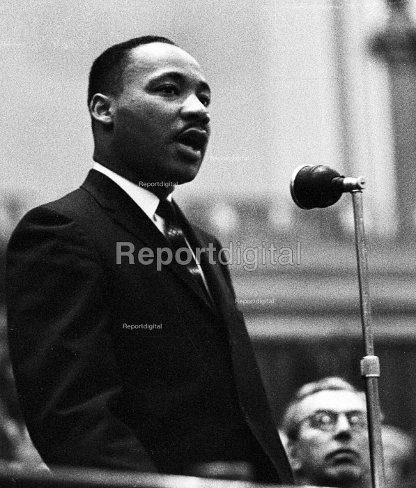 Civil Rights Activist, Dr. Martin Luther King, Westminster Central Hall, London: 'Colour prejudice must go', London, Canon John Collins is to King's left. - Romano Cagnoni - 1961-10-30