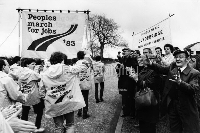 The Peoples March For Jobs is greeted enthusiastically by supporters just before crossing the border from Scotland into England at Gretna Green 1983 - Rick Matthews - 1983-04-29