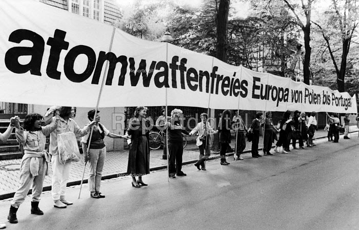 Demonstration organised by delegates at the European Campaign for Nuclear Disarmament Convention in Berlin calling for a Nuclear Free Europe from Poland to Portugal. Berlin, Germany - Stefano Cagnoni - 1983-05-14