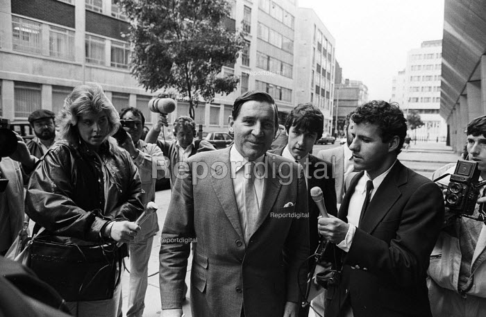 "Alasdair Milne BBC Director General , London, 1985 arriving at the Home Office to protest to Home Sec. Leon Brittan after Government pressured the BBC Board of Governors to cancel the broadcast of ""Real Lives"", a documentary on the conflict in Northern Ireland - Stefano Cagnoni - 1985-08-07"