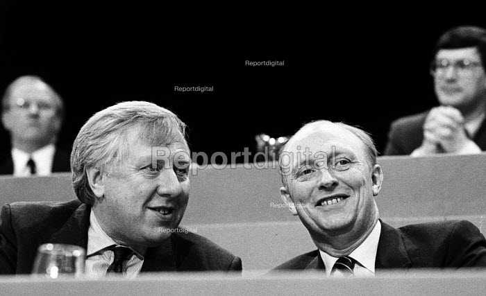 Roy Hattersley, Deputy Leader and Neil Kinnock, Leader of the Labour Party, Labour Party Conference, Blackpoool, 1987 - Stefano Cagnoni - 1987-10-01