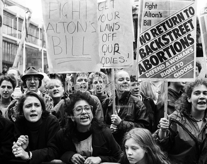 Women protesting against the Alton Bill on abortion, before a meeting organised by LIFE, the anti-abortion group, London, 1987. The Alton Bill, a Private Member's Bill, proposed reducing the time limit to women seeking an abortion. - Stefano Cagnoni - 1987-10-27