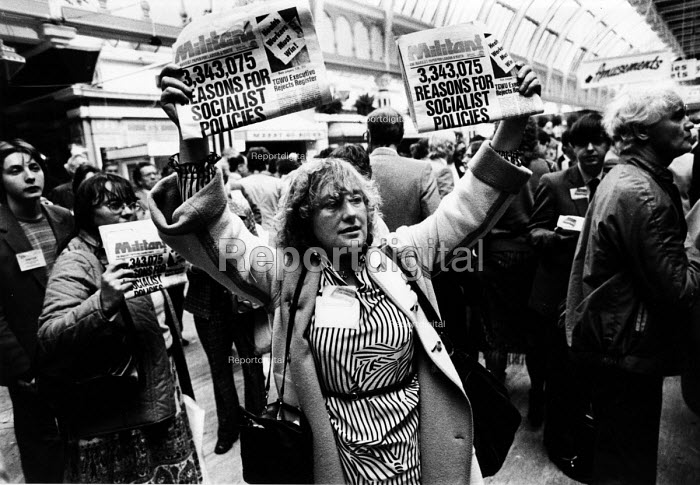 Supporter of MILITANT selling copies of their newspaper, Labour Party Conference 1982 - John Smith - 1982-09-28