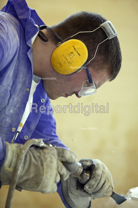Stonemason, apprentice - seen learning his craft at UK... - Roy Peters, RP511q334.jpg