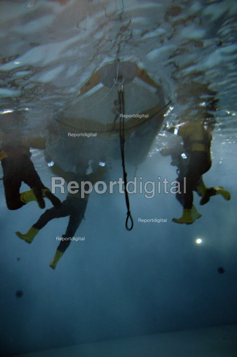 RNLI HQ, Dorset Underwater training in a capsized boat - Roy Peters, RP606b07.jpg