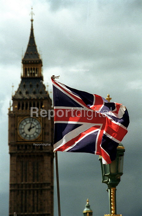 Union Jack flag flying in front of Big Ben - Stefano Cagnoni, SC00TOU1.JPG