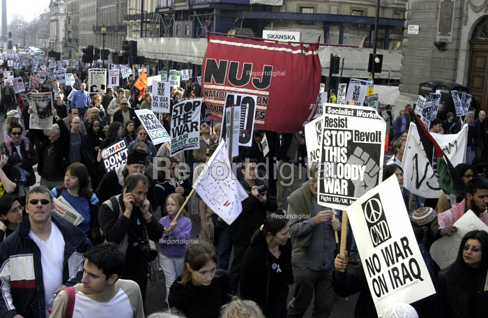 NUJ banner joins protestors marching through London... - Stefano Cagnoni, SC03RQ11.jpg