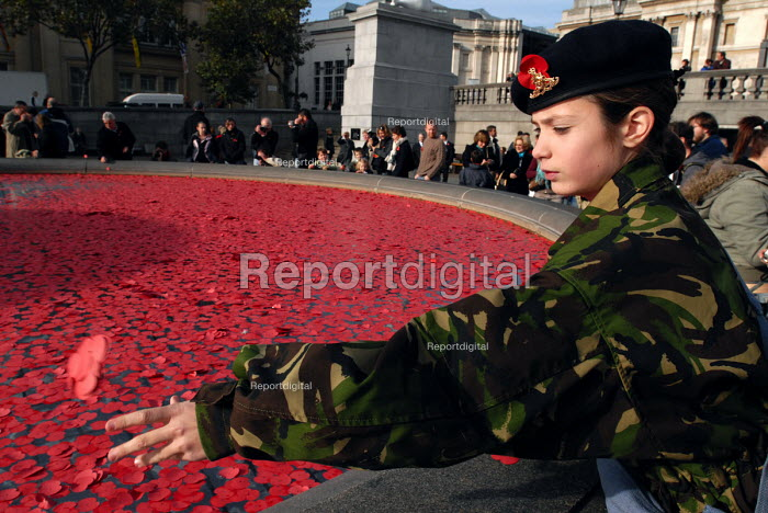 Young Cadet from the 157 Royal Artillery Company throws poppy petals into the fountains at Trafalgar Square following a two minutes silence in memory of all those whose lives have been lost through war and armed conflict - Stefano Cagnoni - 2006-11-11