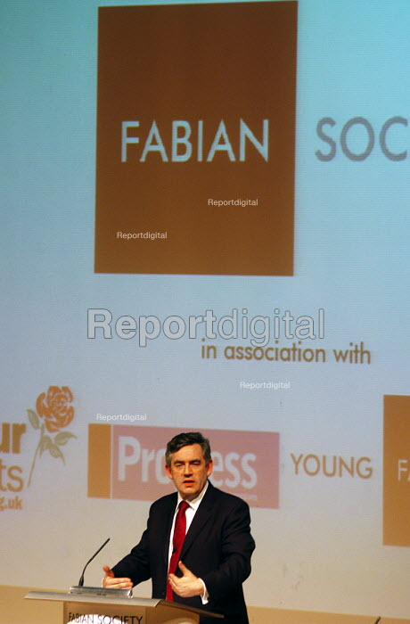 Gordon Brown MP, Prime MInister in-waiting speaking at a Fabian Society hustings meeting for Labour Party potential candidates for the Leadership - Stefano Cagnoni - 2007-05-13