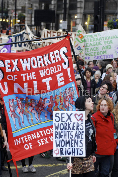 Sex Workers banner on International Womens Day calling for an end to male violence against women, London - Stefano Cagnoni - 2008-03-06