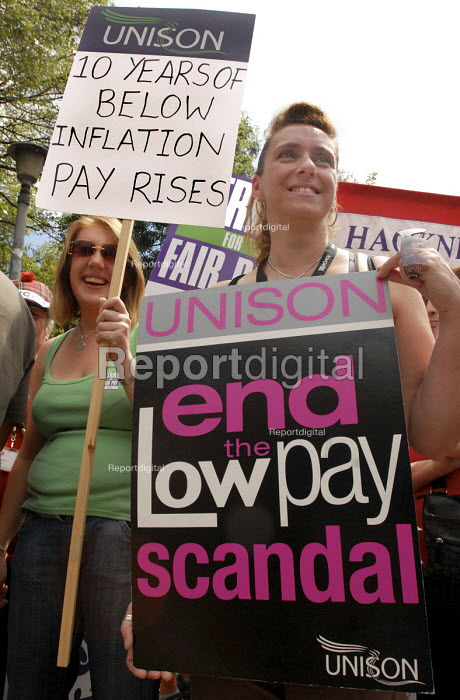 UNISON members on strike for fair pay march through central London - Stefano Cagnoni - 2008-07-16