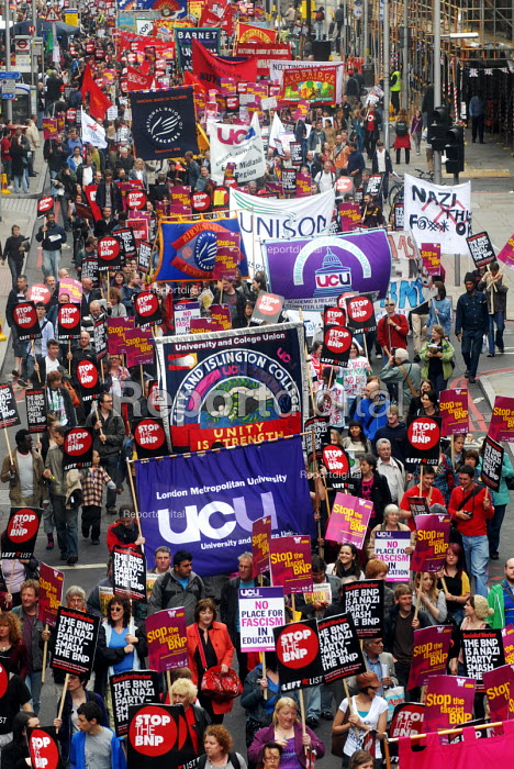 Trade Union banners on the anti-Fascist march through London protesting against the BNP. Here UCU banners are to the fore - Stefano Cagnoni - 2008-06-21
