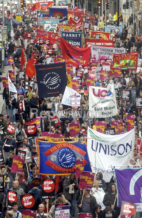 Trade Union banners on the anti-Fascist march through London protesting against the BNP. Here UNISON & NUT banners are to the fore - Stefano Cagnoni - 2008-06-21
