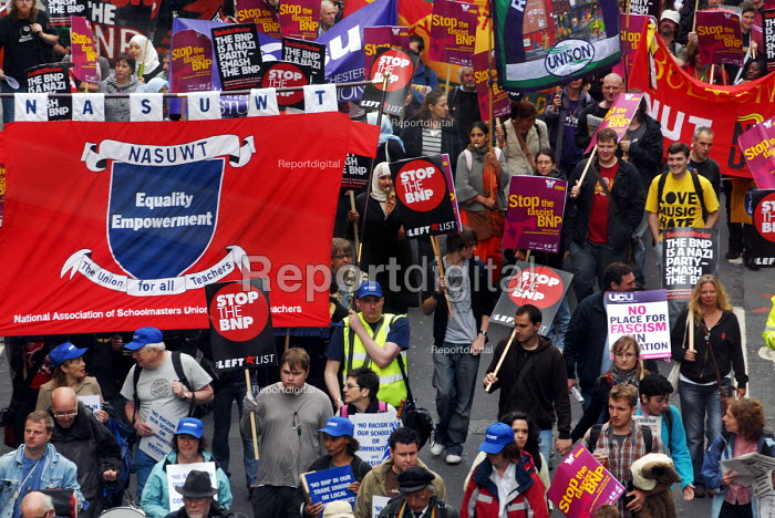 Trade Union banners on the anti-Fascist march through London protesting against the BNP. NASUWT banner - Stefano Cagnoni - 2008-06-21